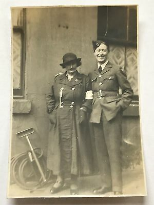 Photograph WW2 RAF Royal Air Force Airmen With ARP Lady Northern Ireland 1942 5