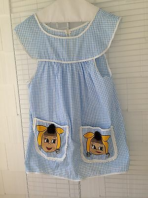 Vintage 1950s 60s Apron Pinafore I Love Lucy Theme Blue Gingham