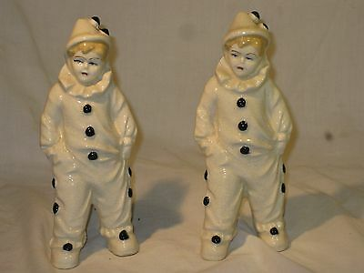 Pair of Art Deco Vintage Porcelain Pierrot Clown Figures