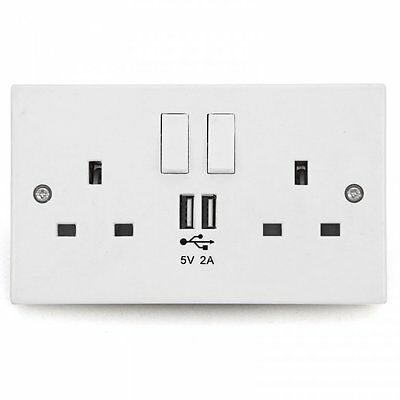 *White Plastic 2 Gang 13 Amp Switched Double Wall Plug Socket with 2 USB Sockets