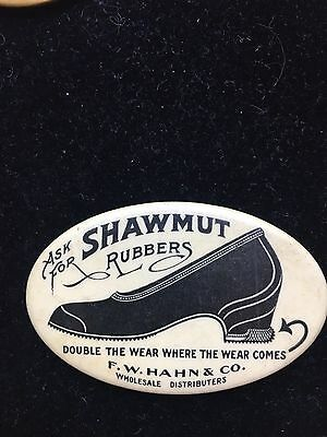 early vintage SHAWMUT RUBBERS  advertising celluloid pocket mirror *