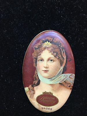 Antique Vintage Oval Celluloid Advertising Pocket Mirror QUEEN QUALITY SHOES