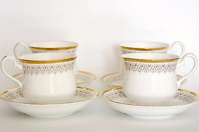 4 Tea cups saucers sets Royal Albert Burlington English white gold gilt wedding