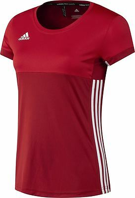 Adidas T16 Clima Cool Tee (Womens)- T shirts- Power Red/White