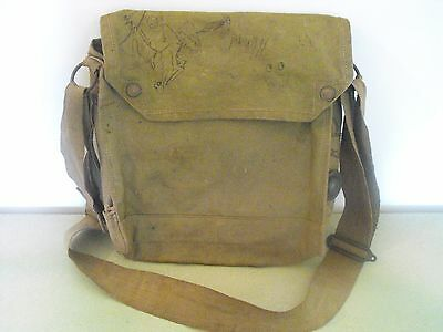 Original Vintage British Army Canvas Satchel, Messenger Shoulder Bag
