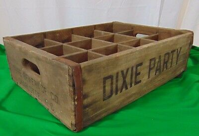 Rare Vintage DIXIE PARTY PURE BEVERAGE Co. Charlotte NC Wooden Crate 12 Slot