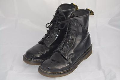 Womens Black Patent Leather Lace Up Dr Martens 8 Eyelet Ankle Boots Uk 7