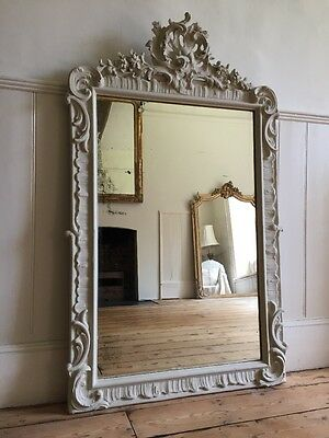 Antique French Painted Louis XV Mirror / Overmantel - Lovely Old Glass