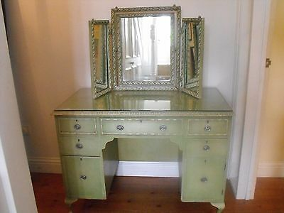 Vintage Shabby Chic Chippy Original Painted Green Dressing Table, Mirror, Stool