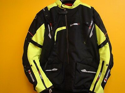 Oxford Montreal Mens Black/Flo Yellow Motorcycle Mid-length Textile Jacket