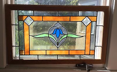 Framed leaded stained glass window/ panel/ art deco design