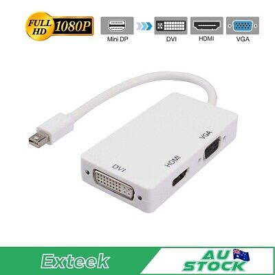3 in1 Thunderbolt Mini DP Display port to HDMI DVI VGA Adapter Cable for MacBook