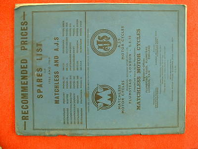 Matchless and AJS 1963 & 64 Spares and Price List - Original