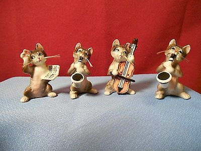 Vintage Lot Of Small Cat With Whiskers Figurines Playing Musical Instruments