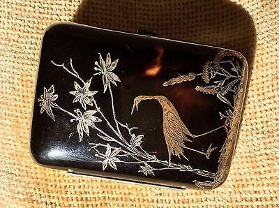 Japanese Antique 19th C Faux Tortoiseshell Inlaid Gold Silver Purse Silk