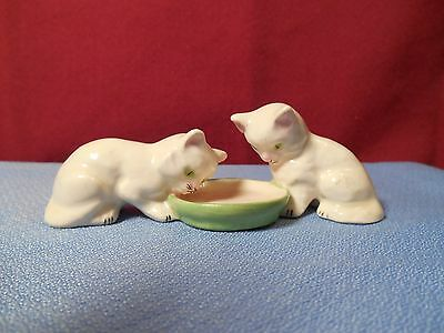 """Vintage Two White Cat Drinking From A Saucer Figurine """" Germany"""""""