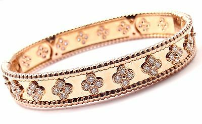 Authentic Van Cleef & Arpels 18k Rose Gold Perlee Diamond Clover Bangle Bracelet
