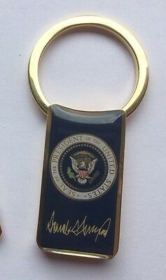Donald J Trump Keychain Presidential Seal Key Ring w/ signature *USA MADE*