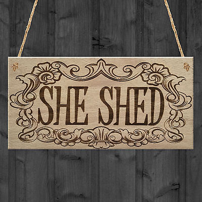 She Shed Woman Cave Garden Mum Sister Friendship Hanging Plaque Home Gift Sign