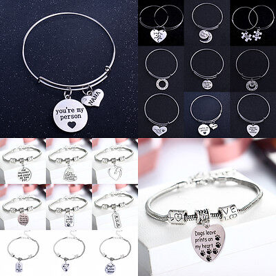 New Family Bangle Charm Bracelet Heart Horse Pet Dog Paw Friend Sister Mom Dad