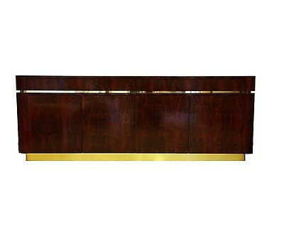 Burl Wood Mica Brass Credenza Style of Karl Springer Waterfall Sideboard Buffet
