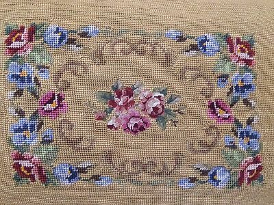 Antique Needlepoint Petit Point Roses Vintage Finished PILLOW Quilted 1930's