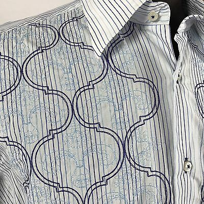 Brunelli Blue White  Men's Embroidered Long Sleeve Casual Shirt XL