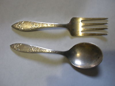 AI-003 - Stieff Sterling Silver Baby Child's Spoon Fork Vintage Not Monogramed