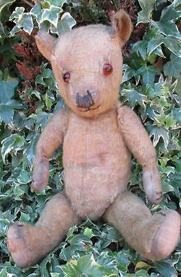 Adorable Vintage 1930s Chiltern Golden Mohair Jointed Teddy Bear - 15""