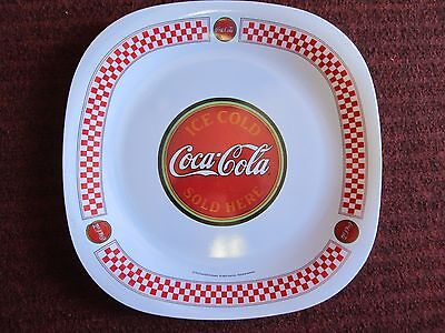"""Coca-Cola Cafe Gibson Plastic Plate ~ Red Checkered Border 10 1/2"""" Diner Style"""