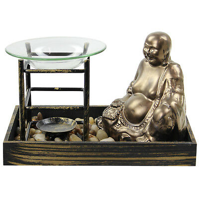 Bronze Buddha Shaped Fragrance Oil Burner with Tea Light Holder Pebble Tray Set