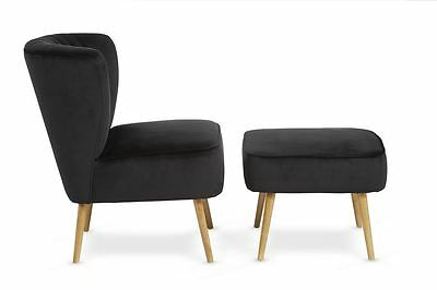 Prestwick Retro 50's Diner Style Occasional Fabric Chair with Footstool Black