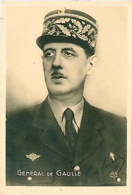 WWII FRENCH President General Charles de Gaulle Photo PC c1940s