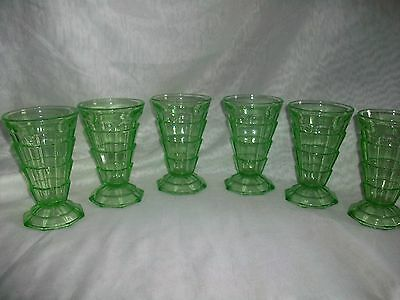 Indiana Glass Co Depression Glass Art Deco Design Tea Room Sundae Footed Bowls