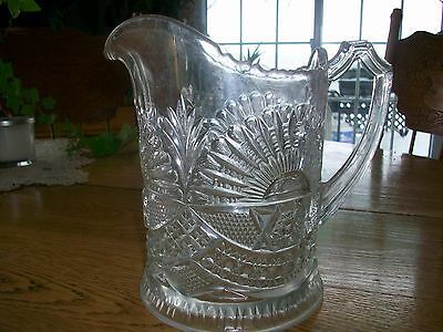 Antique U S Glass Company Rising Sun Pitcher