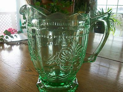 Vintage Early American Prescut Depression Glass Pitcher