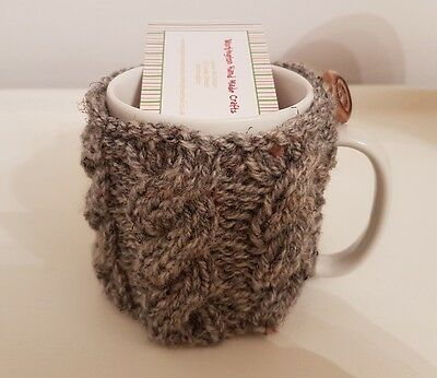 Hand Knitted Aran Mug Cosy - Herringbone(Dark Grey)