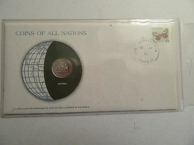 1979 Guyana 25 Cent, Franklin Mint Coins of all Nations Series, w/ stamp