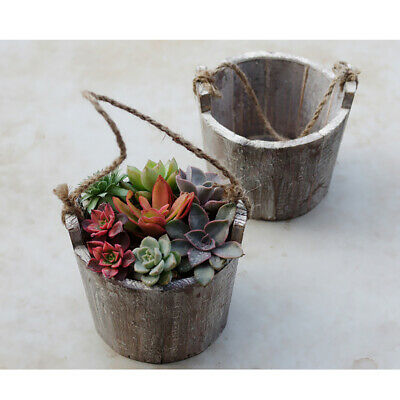 Wood Barrel Pot Planter Outdoor Garden Plant Flower Bucket Rustic Decor 13cm