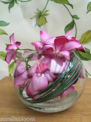 Stunning Pink Orchid & Grass Artificial Flower Arrangement Glass Bowl In Water