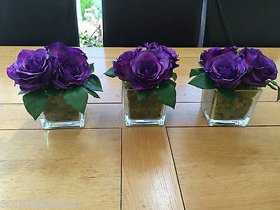 Set Of 3 Purple Rose Cluster Moss Lined Large Glass Cube Artificial Arrangements