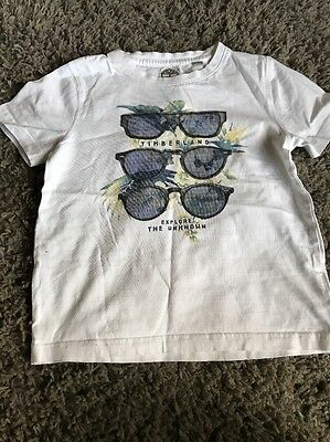 Timberland Boys White Summer Holiday Casual T-shirt  Top 8 years Sunglasses