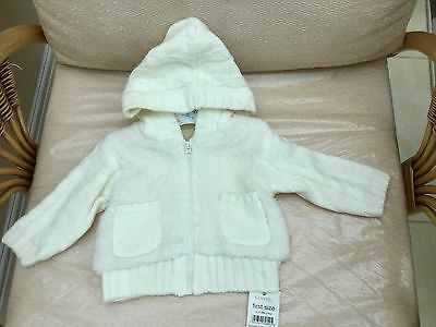Baby Unisex Hooded Cardigan First Size Ivory New With Labels