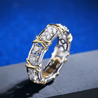 Stainless Steel Women Fashion Crystal Gold Silver Plated Ring Jewelry