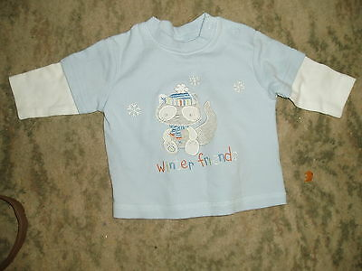 0-3 months lovely pale blue T Shirt top with long sleeve inserts, F&F, cotton