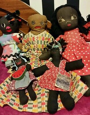 GROUP LOT OF Vintage/Antique Black Americana African American Folk Doll