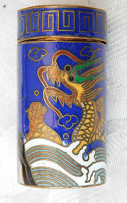 Lovely Vintage ? Chinese Cloisonne Dragon Design Cloisonne Small Lidded Box