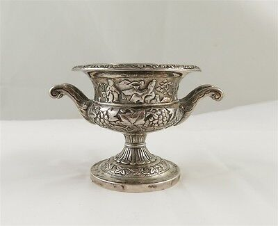 Asian Motif .93 Silver Repousse Footed Salt with Glass Liner