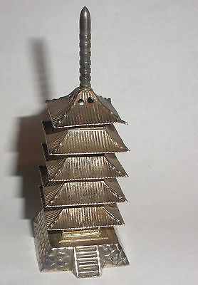 1 Nice vintage Chinese or Japanese Pagoda sterling silver salt or pepper shaker.