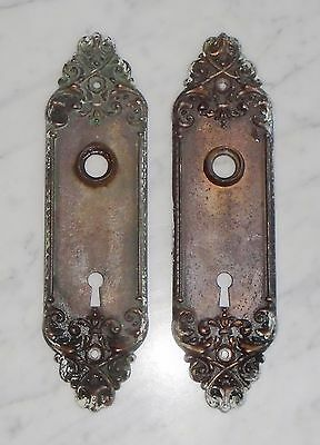 Matching Set of 2 Antique Gothic Victorian Door Knob Skeleton Key Plate Covers